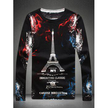 Round Neck Eiffel Tower Print Long Sleeve Sweater