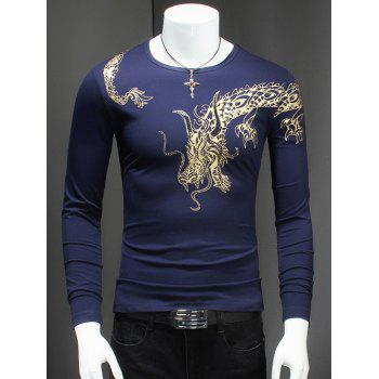 Round Neck Rivet Embellished Dragon Print T-Shirt