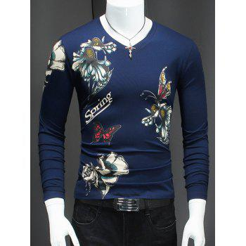 Butterfly and Flower Pattern Long Sleeve T-Shirt