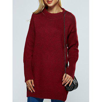 Ribbed Round Neck Long Sweater