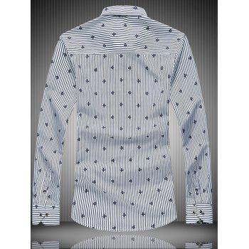 Long Sleeve All-Over rayures et motif de fleurs T-shirt - Blanc 3XL