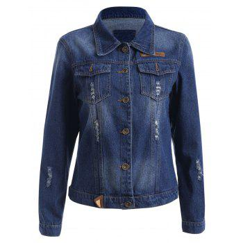 Buttoned Broken Hole Denim Jacket