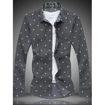 Long Sleeve All-Over Striped and Flower Pattern Shirt