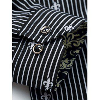 Long Sleeve All-Over Striped and Flower Pattern Shirt - BLACK 3XL