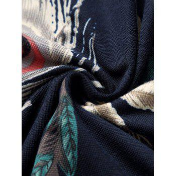 Collier All-Over Feather Printed shirt Turn-Down - multicolorcolore 4XL