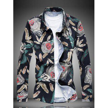 Turn-Down Collar All-Over Feather Printed Shirt