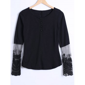 Buy See Lace Trim Blouse BLACK