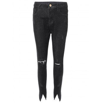 Distressed Frayed Trim Jeans