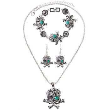 Faux Turquoise Heart Skull Jewelry Set