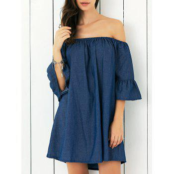 Off-The-Shoulder Bell Sleeve Smock Dress