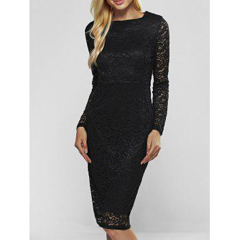 Buy Lace Long Sleeve Sheath Evening Cocktail Dress BLACK