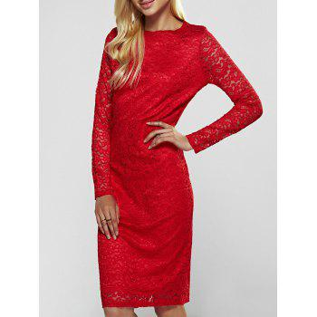 Lace Long Sleeve Sheath Evening Cocktail Dress