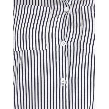 Plus Size Striped High Low Hem Shirt - Rayure 4XL