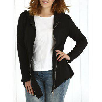 Plus Size Asymmetrical Hoodie - BLACK 3XL