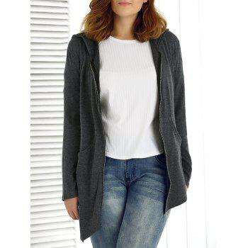 Plus Size Asymmetrical Hoodie - DEEP GRAY 2XL