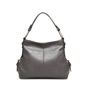 Side Buckle PU Leather Shoulder Bag