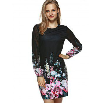 Long Sleeve Printed Floral Bodycon Dress - BLACK S