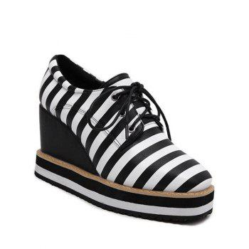 Striped Square Toe Lace-Up Platform Shoes