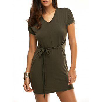 Chic Short Sleeve V-Neck Solid Color Pleated Women's Dress
