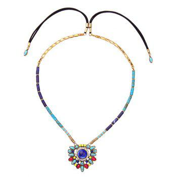Artificial Gem Rhinestone Flower Necklace