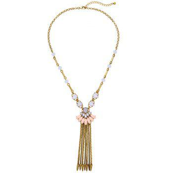 Petal Rhinestone Chain Fringe Necklace