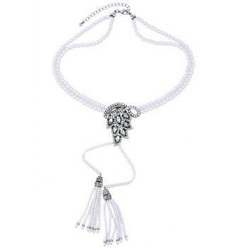 Rhinestone Faux Pearl Tassel Necklace