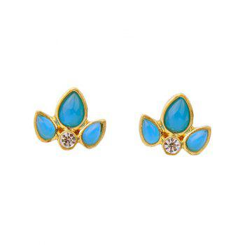 Pair of Rhinestone Leaf Stud Earrings