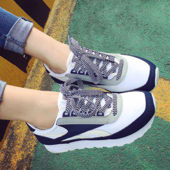 Tie Up Splicing Color Block Athletic Shoes