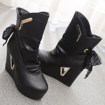 Metal Hollow Out Platform Short Boots