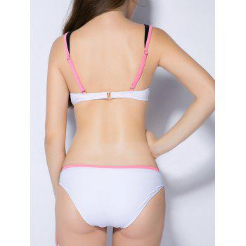 Contraste Couleur Push Up surpiquée Bikini - Blanc XS