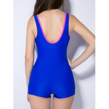 Contrast Color Splicing Backless Swimwear - SAPPHIRE BLUE XS