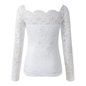 Hollow Out Skinny Slimming Lace T-Shirt - WHITE WHITE