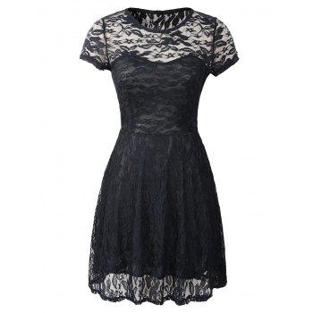 Cut Out Floral Pattern Slimming Dress