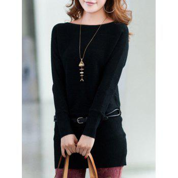 Long Sleeves Knitted Mini Dress - BLACK ONE SIZE