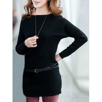Extensible Belted Minceur Robe pull - Noir ONE SIZE