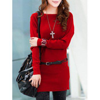 Long Sleeves Knitted Mini Dress - RED ONE SIZE