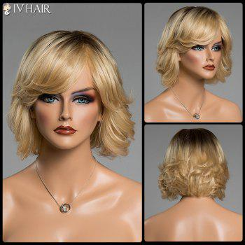 Buy Shaggy Wave Ombre Color Siv Hair Short Side Bang Capless Human Wig COLORMIX