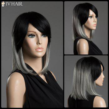 Two-Tone Ombre Medium Straight Human Hair Side Bang Siv Hair Capless Wig