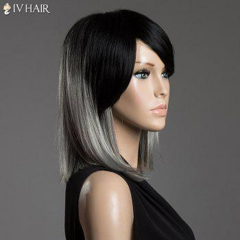 Two-Tone Ombre Lisse Moyen Cheveux Side Bang Siv cheveux capless perruque - multicolorcolore