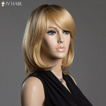 Straight Tail Adduction Siv Hair Ombre Color Capless Medium Human Hair Wig - COLORMIX