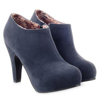 Suede Zipper Cone Heel Ankle Boots