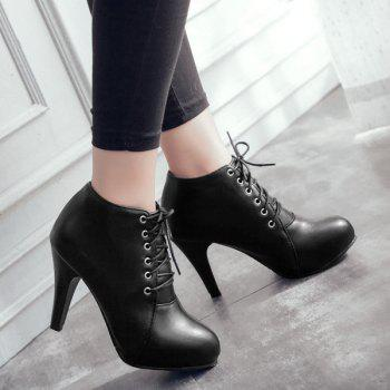 PU Leather Platform Tie Up Ankle Boots