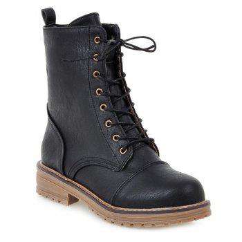 PU Leather Tie Up Platform Boots