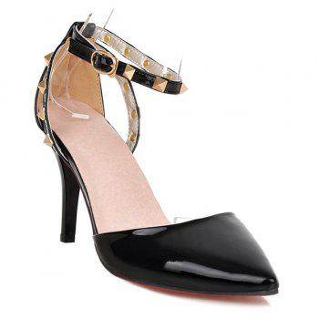 Metallic Point Toe Ankle Strap Pumps