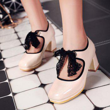 Lace Splicing Bow Pumps - PINK 42