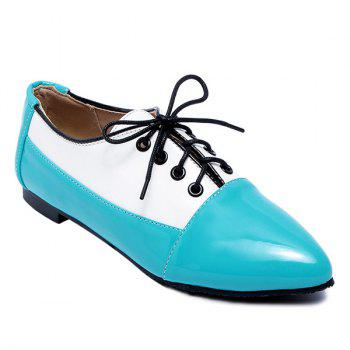 Color Block Tie Up Flat Shoes