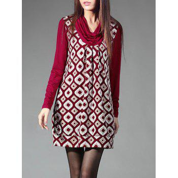 Geometric Print Long Sleeves Dress