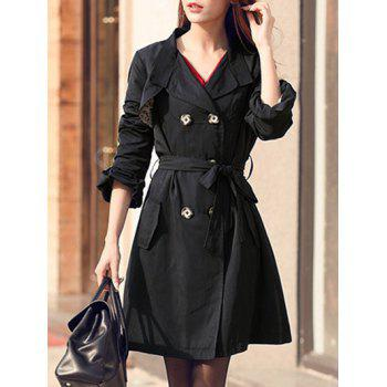 Puff Sleeve Belted Trench Coat