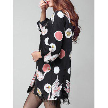 Printed Button Up Coat - BLACK XL