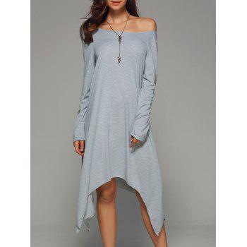 Skew Collar Long Sleeve Handckerchief Dress